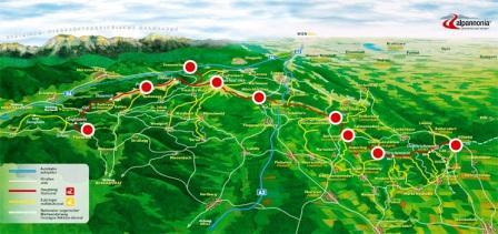 Foto: alpannonia / Wander Tour / alpannonia - grenzenlos weit wandern / Übersichtskarte Panorama alpannonia / 27.07.2010 14:09:51