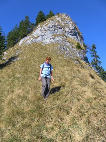 Foto: Wolfgang Lauschensky / Wandertour / Törlspitz  1589m / steiler Grasflankenabstieg unterm Vorgipfel / 13.10.2010 18:54:58