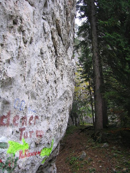 Foto: Andreas Koller / Klettersteigtour / Auf dem Naturfreundesteig durch die Kleine Klause (1002m) / Hier geht's zum Klettersteig, wenn man die vielen Aufschriften auseinanderhalten kann / 17.10.2010 17:49:51