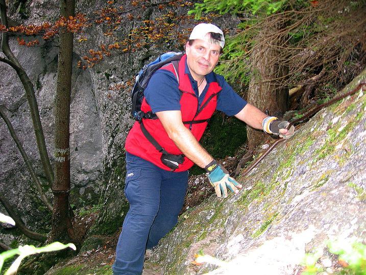 Foto: Andreas Koller / Klettersteigtour / Auf dem Naturfreundesteig durch die Kleine Klause (1002m) / Letzte versicherte Stelle / 17.10.2010 17:45:57