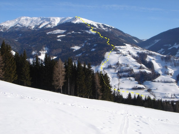 Foto: Manfred Karl / Ski Tour / Teuerlnock, 2145 m / Teuerlnock mit Aufstiegs- und Abfahrtsroute / 30.11.2010 22:25:10