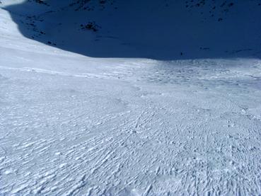 Foto: Datzberger Hans / Ski Tour / Lahnerleitenspitze und Hinkareck aus dem Radmertal / Gipfelrinne Lahnerleitenspitze, sehr steil, aber bester Firn auf harter Unterlage. / 02.02.2014 21:28:02