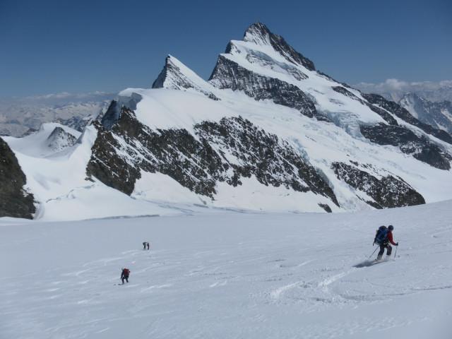 Foto: Wolfgang Lauschensky / Skitour / Hinter Fiescherhorn  4025m Überschreitung / Abfahrt Richtung Finsteraarhorn / 30.04.2011 21:23:07