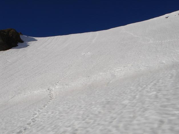 Foto: Manfred Karl / Skitour / Bärenkopf Runde / Kurz vor dem Einstieg in die harmlose Nordflanke des Eiswandbichls / 21.05.2011 23:42:51