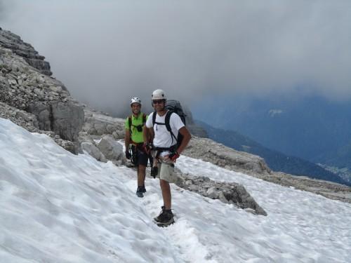 """Foto: hofchri / Klettersteigtour / Brenta-Durchquerung  via """"Sent. Alfredo Benini"""" (Bocchette Weg – I. Etappe, 2905 m) / Firnfelder am Dallagiacoma / 19.08.2011 14:22:11"""