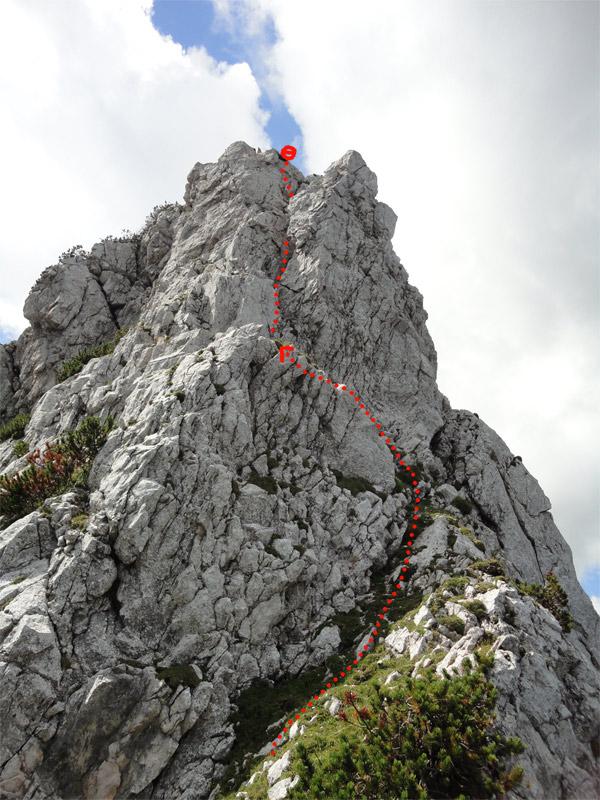 Foto: schrutkaBua / Klettertour / Mitterberg (1916 m) Nord Grat / Übersicht 5. SL abgesprengter Turm / Kamin / 21.11.2011 10:27:37