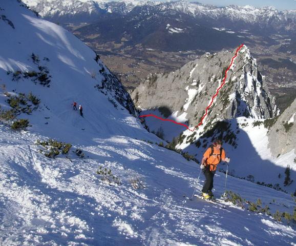 Foto: Wolfgang Lauschensky / Wandertour / Dürreckberg 1785m   / Blick zum Dürreckberg (mit ungefährem Anstieg) während unserer Skitour auf das Hohe Brett im März 2010 / 30.11.2011 18:19:19