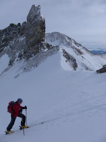 Foto: Wolfgang Lauschensky / Skitour / Lackenspitze 2459m / in der Gratscharte, Blick zum Weißeneck / 01.02.2012 17:05:51