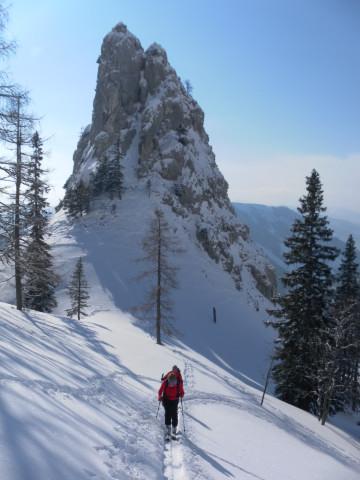 Foto: Wolfgang Lauschensky / Skitour / Scheiblingstein 2197m (hohe Variante aus dem Pyhrgasgatterl) / Steilhang nördlich des Kletterturms / 23.02.2012 14:55:30