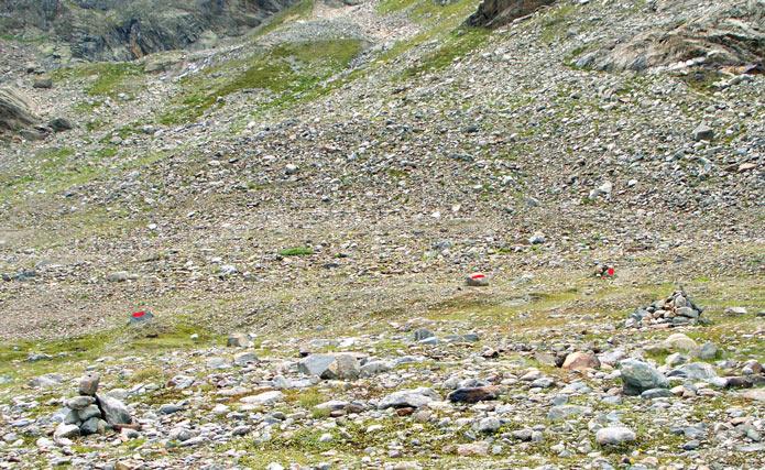 Foto: vince 51 / Wandertour / Sonntagsspitze / Abzweig, die roten Markierungen sind auf dem Foto verstärkt / 31.08.2012 21:02:18