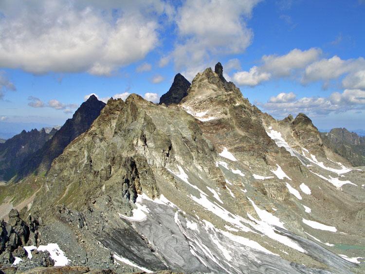 Foto: vince 51 / Wandertour / Sonntagsspitze / Gross-Seehorn und Gross Litzner, unten der blanke Glötter-Gletscher / 31.08.2012 20:48:31