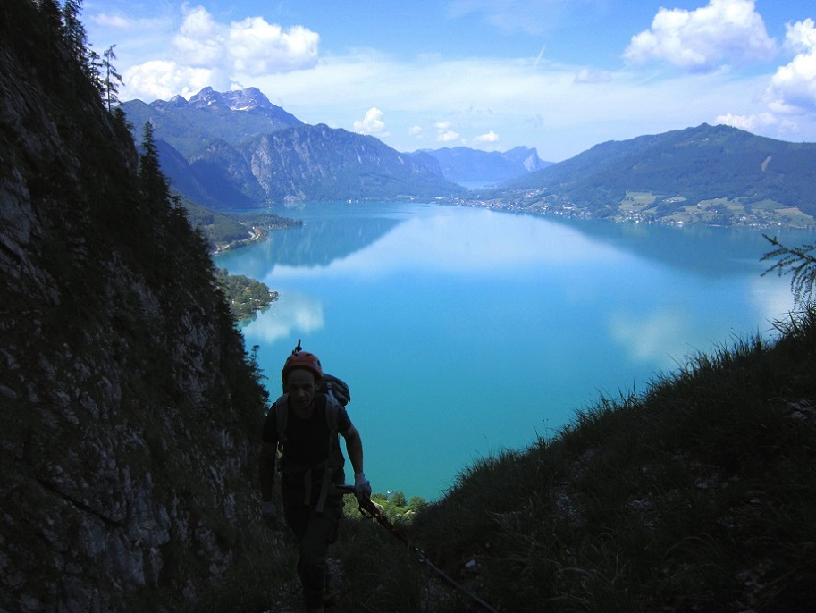Foto: Andreas Koller / Klettersteigtour / Attersee Klettersteig Mahdlgupf (1261m) / 30.06.2013 15:59:17