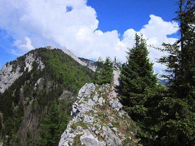 Foto: Andreas Koller / Klettersteigtour / Attersee Klettersteig Mahdlgupf (1261m) / Grat zum Gipfel / 30.06.2013 15:48:44