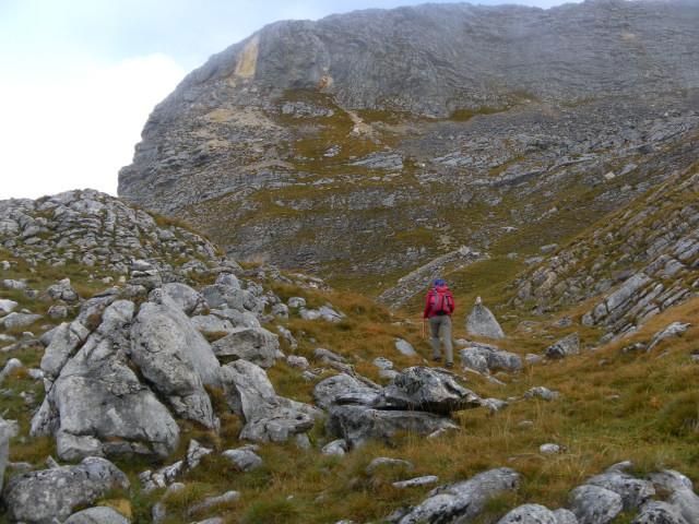 Foto: Wolfgang Lauschensky / Wandertour / Kleine Gaisl oder Croda Rossa Piccola von Pederü / Einstieg in die Südflanke der Roten Wand / 12.10.2013 13:41:08