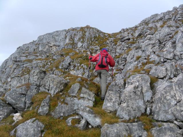 Foto: Wolfgang Lauschensky / Wandertour / Kleine Gaisl oder Croda Rossa Piccola von Pederü / Rinne zum Gipfelrücken / 12.10.2013 13:40:41