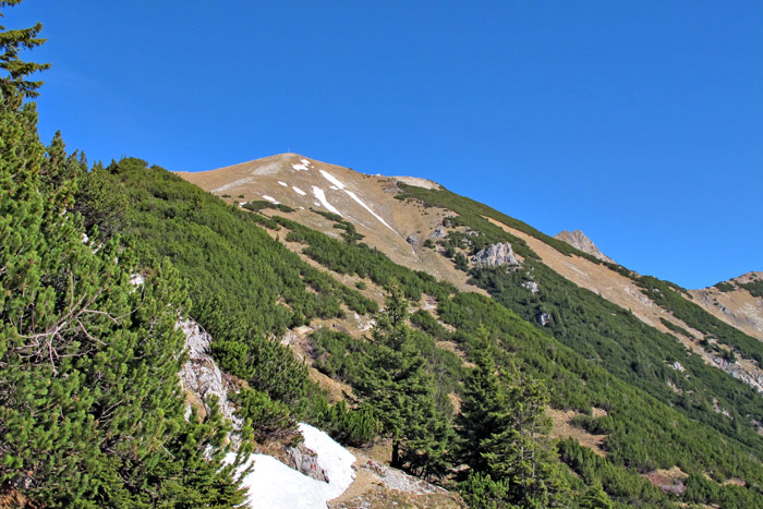 Foto: vince 51 / Wandertour / Von Grän auf das Brentenjoch / Blick vom Vilser Jöchle Richtung Gipfel / 14.04.2014 21:40:19