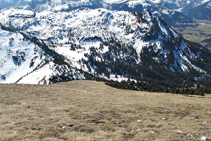 Foto: vince 51 / Wandertour / Von Grän auf das Brentenjoch / Der Aufstiegsrücken / 14.04.2014 21:37:31