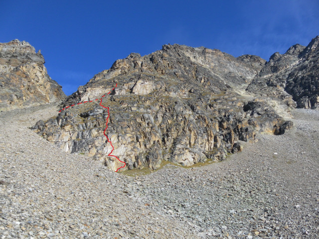 Foto: Wolfgang Lauschensky / Klettersteigtour / Tschenglser Hochwand 3375m Verlängerung des Südwandklettersteigs / Einstiegsverlängerung des Südwand-Klettersteiges / 11.10.2014 18:17:14