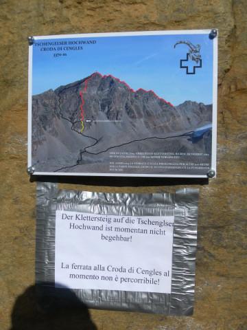 Foto: Wolfgang Lauschensky / Klettersteigtour / Tschenglser Hochwand 3375m Verlängerung des Südwandklettersteigs / Einstiegstafel 2014 / 11.10.2014 18:16:56