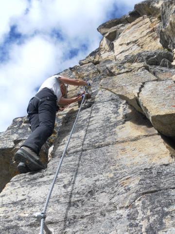 Foto: Wolfgang Lauschensky / Klettersteigtour / Tschenglser Hochwand 3375m Verlängerung des Südwandklettersteigs / Pfeiler / 11.10.2014 18:09:28