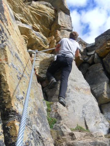 Foto: Wolfgang Lauschensky / Klettersteigtour / Tschenglser Hochwand 3375m Verlängerung des Südwandklettersteigs / Verschneidungsrinne / 11.10.2014 18:09:17