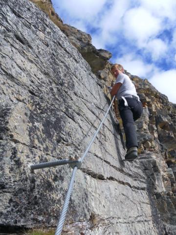 Foto: Wolfgang Lauschensky / Klettersteigtour / Tschenglser Hochwand 3375m Verlängerung des Südwandklettersteigs / glatte Platte / 11.10.2014 18:09:05