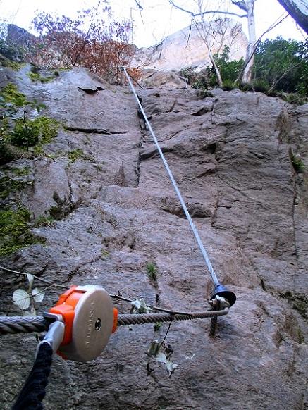 Foto: Andreas Koller / Klettersteigtour / Klettersteig Hoachwool Naturnser Sonnenberg (1200m) / Knifflige Stelle / 12.04.2015 18:08:35