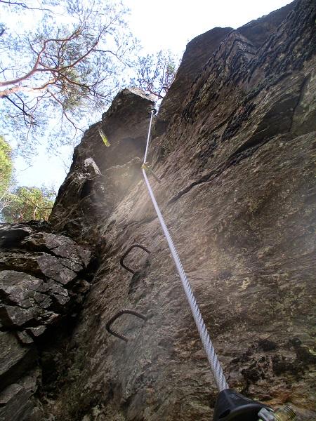 Foto: Andreas Koller / Klettersteigtour / Klettersteig Hoachwool Naturnser Sonnenberg (1200m) / Schlusspfeiler / 12.04.2015 17:54:24