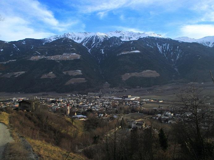 Foto: Andreas Koller / Klettersteigtour / Klettersteig Hoachwool Naturnser Sonnenberg (1200m) / Blick auf Naturns / 12.04.2015 16:08:19