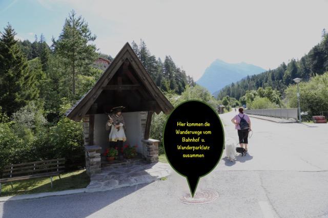 Foto: Werner Kaller / Wandertour / Von Scharnitz über den Karwendelsteg / Hier kommen beide Wanderwege zusammen / 15.08.2016 11:12:33
