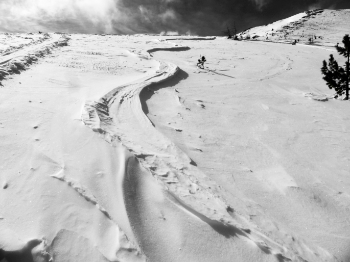 Foto: Manfred Karl / Skitour / Peitlernock von Innerkrems / Windgefräste alte Spur / 16.01.2017 20:35:20