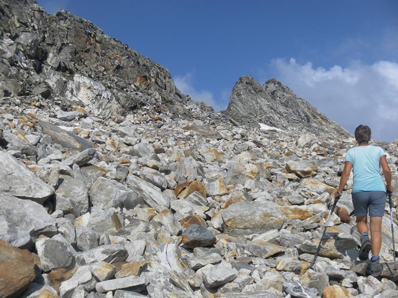 Foto: Wolfgang Lauschensky / Wander Tour / Roßlahnerkopf 2861m von der Thyringer Hütte / unter der Gratscharte in der Ostflanke / 04.08.2018 13:55:32