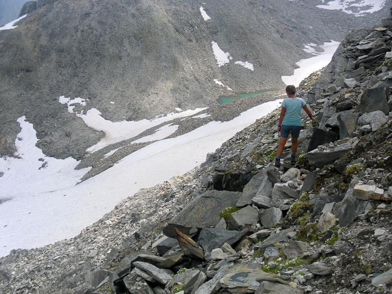 Foto: Wolfgang Lauschensky / Wander Tour / Roßlahnerkopf 2861m von der Thyringer Hütte / Ostflankenquerung über dem Waidsfeldkees / 04.08.2018 13:55:03