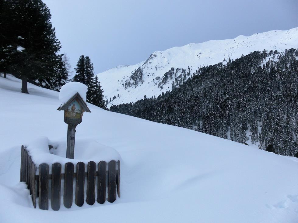 Foto: Wolfgang Lauschensky / Skitour / Angerbergkopf und Schaflegerkogel von der Kemater Alm / Marterl hinter der Kemater Alm / 26.01.2019 11:29:53