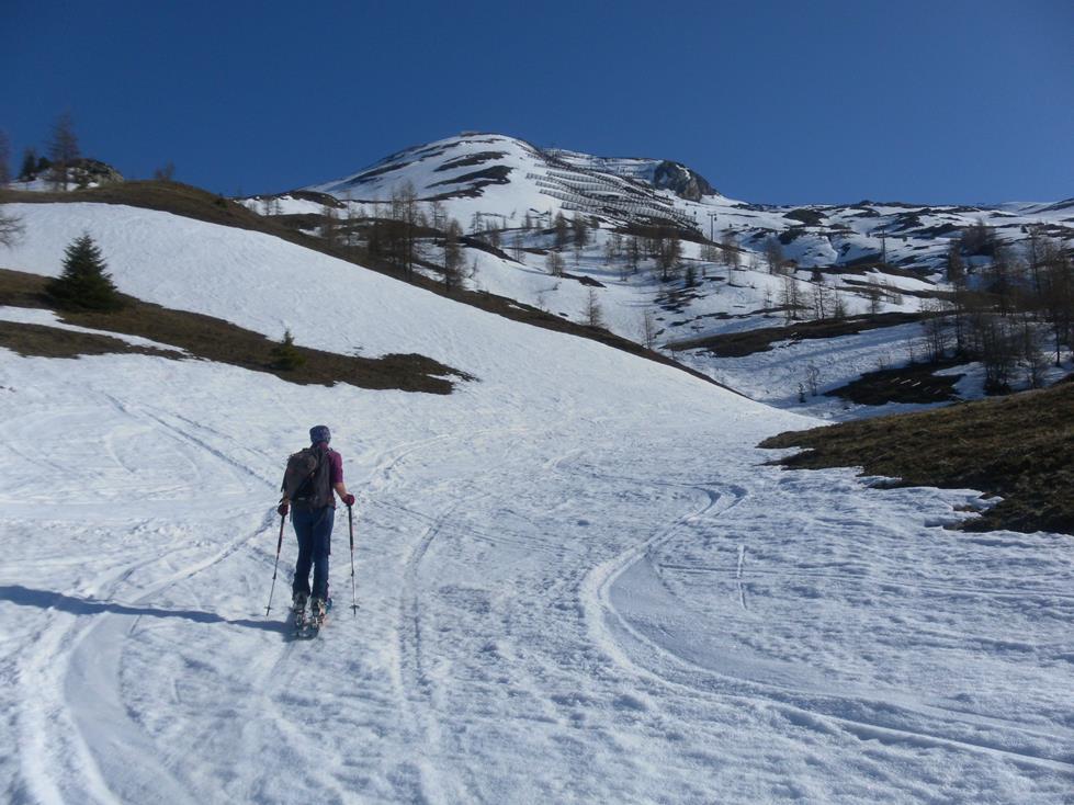Foto: Wolfgang Lauschensky / Skitour / Roßschartenkopf über Schareck / Pistenabzweig ins Variantengebiet / 26.04.2019 17:34:11