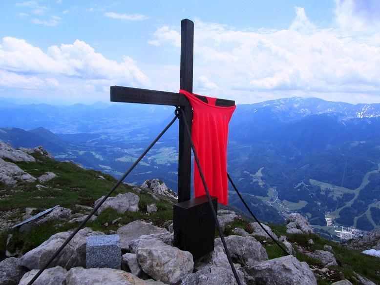 Foto: Andreas Koller / Wandertour / Kleiner Priel - steile Tour über Hinterstoder (2136m) / Gipfelkreuz am Kleinen Priel / 30.08.2019 01:44:28
