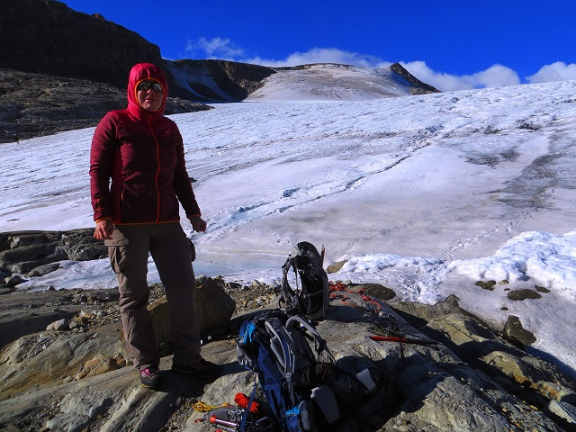 Foto: Andreas Koller / Wandertour / Über leichte Gletscher auf den Breitkopf (3154m) / Der Wasserfallwinkel ist gequert / 30.11.2019 01:10:41