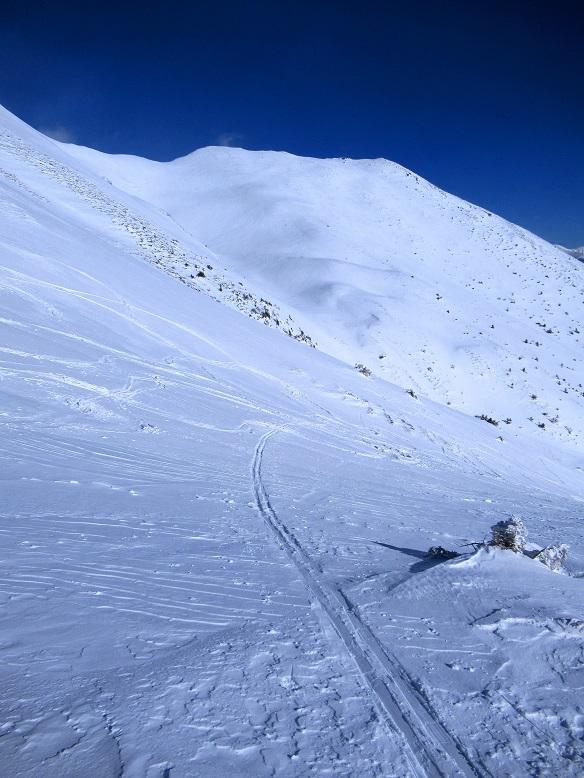 Foto: Andreas Koller / Skitour / Seitnerzinken Südroute (2164m) / Steil aus dem Kar zum Sattel / 21.02.2021 00:55:35