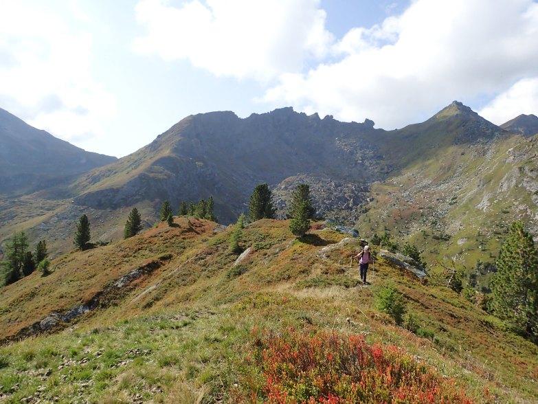 Foto: Manfred Karl / Wandertour / Rosskogel über die Metzgeralm / Am flachen Gipfelgratrücken, re. hinten Lackenspitze / 19.07.2021 19:58:33