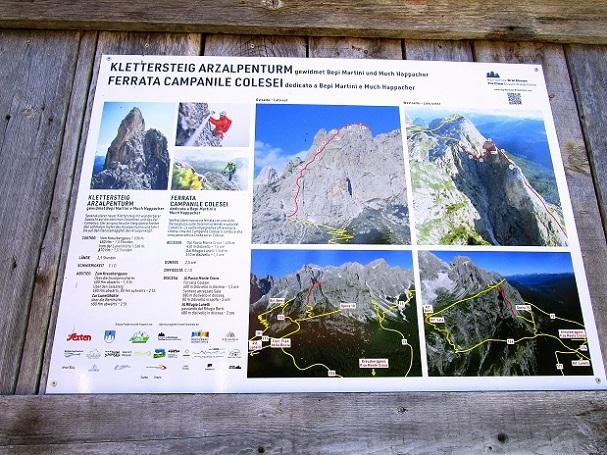 Foto: Andreas Koller / Klettersteigtour / Klettersteig Arzalpenturm und Arzalpenkopf (2372m) / Informationstafel zum Klettersteig am Kreuzbergpass / 10.09.2021 16:51:55
