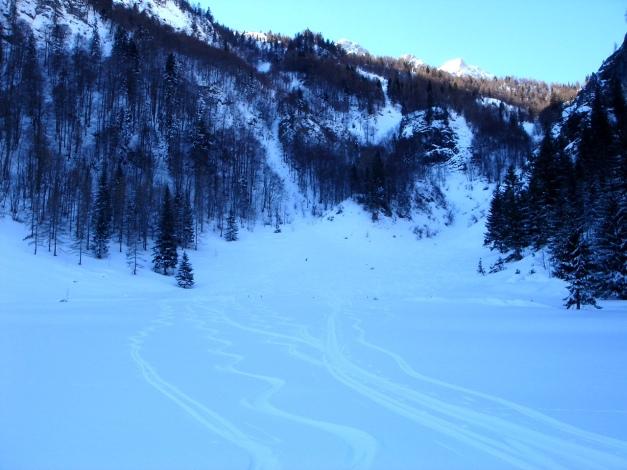 Foto: Manfred Karl / Ski Tour / Über die Gwechenberghütte auf den Sonntagskogel / Flacher Auslauf der Zwing / 30.01.2009 22:59:05