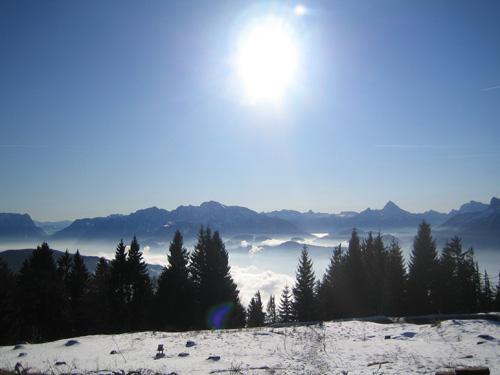 Foto: letsgoactive / Mountainbike Tour / Von Salzburg/Aigen auf den Gaisberg / Blick vom Gaisberg Richtung Göll und Watzmann / 05.01.2007 18:22:50