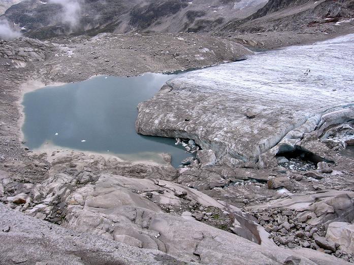 Foto: Andreas Koller / Wander Tour / Stubacher Sonnblick (3088 m) / Gletscherzunge und -see des Sonnblickkeeses / 17.08.2007 13:14:59
