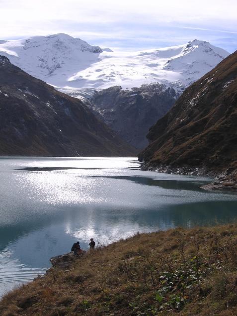 Foto: Andreas Koller / Wander Tour / Über den Sedlgrat auf den Kleinen- und Großen Grießkogel (3066 m) / Speicher Mooserboden und die Glocknergruppe im S / 08.06.2007 20:47:52