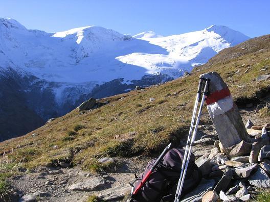 Foto: Andreas Koller / Wander Tour / Über den Sedlgrat auf den Kleinen- und Großen Grießkogel (3066 m) / Blick nach SW auf Johannisberg (3463 m) und die Hohe Riffl (3348 m) / 08.06.2007 20:43:11