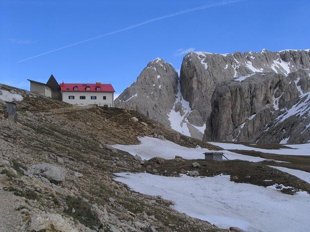 Foto: Andreas Koller / Wander Tour / Schlern und Grödner Höhenweg (2656 m) / Die Tierser Alpl Hütte / 22.04.2007 21:46:43