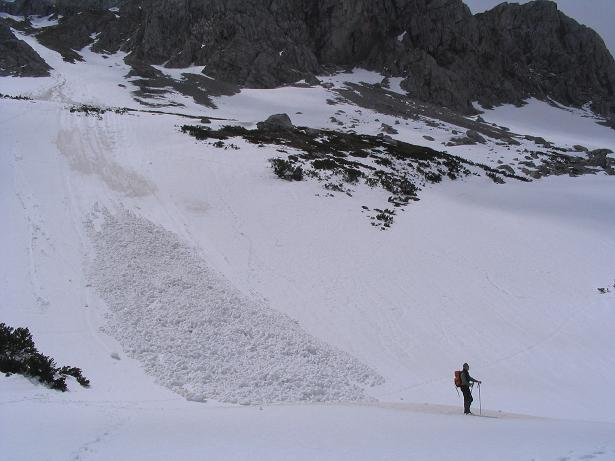 Foto: Andreas Koller / Wander Tour / Durch das Seetal ins Herz des Hochschwabs (2277 m) / Lawinenkegel in der Oberen Dullwitz am 11.06.2006 / 22.04.2007 22:36:10