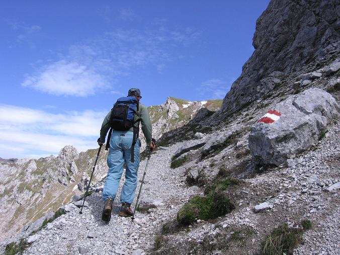 Foto: Andreas Koller / Wander Tour / Riffel und Rosskarsteig (2106 m) / Unter der Kalbling S-Wand / 22.04.2007 23:04:02