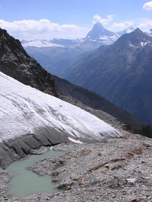 Foto: Andreas Koller / Wander Tour / Der Dom - auf das Dach der Schweiz (4545 m) / Gletscherzunge und -see am Festigletscher / 04.05.2007 22:47:36