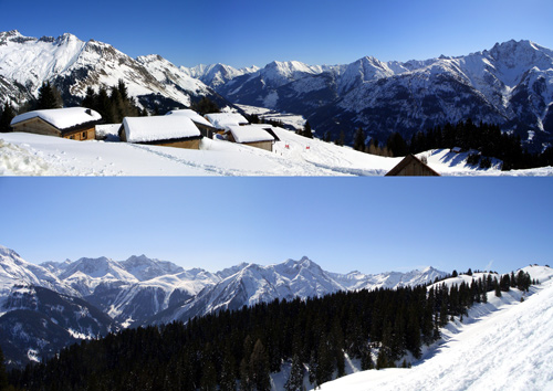 Foto: vince 51 / Wander Tour / Von Elbigenalp zur Bernhardseck Hütte / oberes Panorama: Blick nach NO ins Lechtal und zu den Lechtaler Alpen unteres Panorama: Blick nach SO zu den Lechtaler Alpen / 29.12.2006 23:09:44
